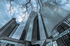 Debit and Credit (marionrosengarten) Tags: frankfurt deutschebank towers skyscraper wideangle bigcity nikon sigma uww debitandcredit twintowers zwillingstürme reflections spiegelung high hochhaus