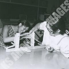 398-3-2-6869 (Kamehameha Schools Archives) Tags: kamehameha archives kapalama oahu luryier pop diamond 1969 1968 ks ksg ksb arts crafts students loom fabric vocational