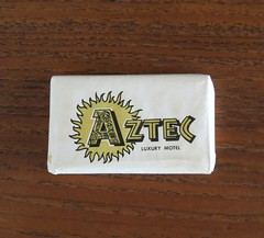 Vintage Travel Guest Soap - Aztec Luxury Motel - Buena Park, Calif. (hmdavid) Tags: vintage travel guest soap aztec luxury motel buenapark california knottsberryfarm