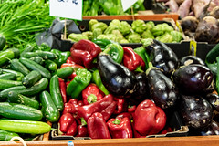 Fruit and Vegetable stall at the Markets (Merrillie) Tags: stall indoors vegetables colours shopping forsale shop paddysmarkets green fresh fruit markets red