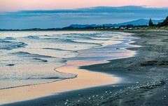 Waikanae Beach Reflections (David Hamments) Tags: reflections newzealand waikanaebeach sunset pinkclouds flickrunitedaward