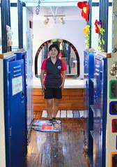 Isabelle in the Circus Caboose (Sotosoroto) Tags: sequim washington bb redcaboosebb caboose