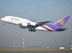 "HS-TUD, Airbus A380-841, c/n 122, TG-THA-Thai-Thai Airways International, ""Phayuha Khiri / พยุหะคีรี"", CDG/LFPG 2019-02-16, off runway 27L. (alaindurandpatrick) Tags: cn122 hstud a380 a380800 airbus airbusa380 airbusa380800 megabus jetliners airliners tg tha thai thaiairwaysinternational airlines cdg lfpg parisroissycdg airports aviationphotography"