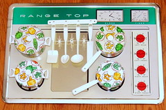 Vintage J.G. Giant Toy Range Top Stove With Cookware Set, Made In USA, Measures 19 Inches Wide x 13 Inches High, Circa 1950s (France1978) Tags: vintagetoysforgirls vintagetoyjggiantrangetopset vintagetoycollection 1950stoys toys