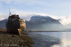 Corpach ship wreck (rjonsen) Tags: boat ship stranded beach ben nevis misty mountains muro mist fog blue sky wide angle scotland alba