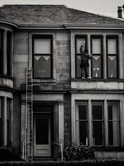 on the job (clcart) Tags: fujifilmx30 window windowcleaner greenock scotland blackandwhite street streetphotography fujifilm