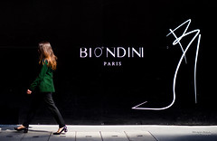 Street - Biondini Heels (François Escriva) Tags: street streetphotography paris france people candid olympus omd photo rue woman colors sidewalk jacket heels high green black pants redhead brand biondini shoes fashion works drawing billboard wall