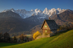 Idyllic scenery (Dreamy Pixel) Tags: alpine alps background beautiful blue cherry close cottage dawn detail europe european face field forest gorenjska grass green hut julian landscape limestone martuljek meadow morning mount mountain nature north outdoors pasture peak pyramid rock scenic sky slovenia snow spik spring sun sunlight sunrays sunrise tree up view vrsic white winter