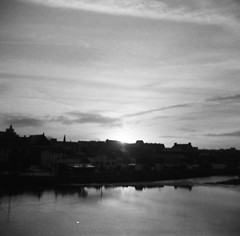 Sun up (bigalid) Tags: film 120 6x6 coronet 66 rexflash march 2019 fomapan 100iso dumfries bw fixedfocus vintage sunrise river nith