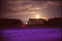 (✞bens▲n) Tags: leica m4 velvia 100 summilux 50mm f14 film analogue slide cold night moon dark purple light fields landscape snow