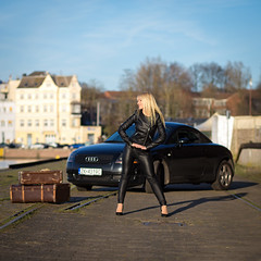 the model and her car (FotoMaggi) Tags: sexy women beautiful blondhair leatherpants longhair instagood highheels beauty auditt audi lübeck leatherjacked schleswigholstein deutschland