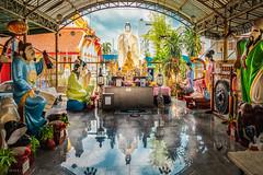 Statues at Wat Kantathararam (Goran Bangkok) Tags: guanyin kantathararam reflection statue temple wwy wat bangkok thailand sky clouds blue yellow colors statues religion buddhism buddha happyplanet asiafavorites