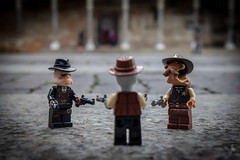 Space Mexican standoff (Ballou34) Tags: 2019 7dmark2 7dmarkii 7d2 7dii afol ballou34 canon canon7dmarkii canon7dii eos eos7dmarkii eos7d2 eos7dii flickr lego legographer legography minifigures photography stuckinplastic toy toyphotography toys stuck in plastic alien space cowboy mexican standoff guns hats