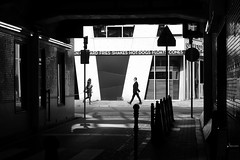 ... V ..... (明遊快) Tags: monochrome bw street urban pedestrian alley city avenue road lines people japanese sunlight shadows contrast dark happyplanet asiafavorites