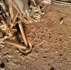 Leg on the Ground 1, variant (sjrankin) Tags: marsnasagovinsightrawimagessurfacesol0137idcd000m0137608706507edrf00000817m 19april2019 edited nasa mars insight ground dust rocks sand leg landingleg elysiumplanitia