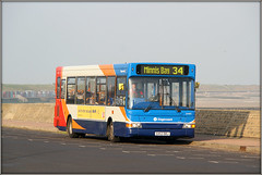 34482, Minnis Bay (Jason 87030) Tags: thanet kent southeast eastkent stagecoach saesdie coast sea roadside driver paranoid android camera shot red white blue orange pointer slf dart transbus 34482 34 rest break end journey service route birchington hioliday buses vacation