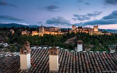 Roofs and the Alhambra (Blue hour) (cedant1) Tags: grenade granada spain espagne espana europe europa picturesque nikon nikond750 nisicpl nisiv5pro nisignd nisi alhambra monument roof albayzín bluehour longexposure