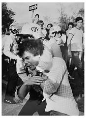 Choke hold arrest at American University: 1970 (Washington Area Spark) Tags: american university students confrontation ward circle police throw hurl objects arrest tear gas antivietnam war cambodia strike walkout boycott demonstration block traffic sit 1970 district columbia washington dcs jail