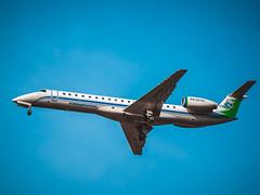 Embraer ERJ-145LR KomiAviaTrans RA-02783 (St Basoff) Tags: olympus omd em12 mft m43 70300mm embraer 145 komiaviatrans sky sunny ra02783 colour roasted processed aircraft plane airplane