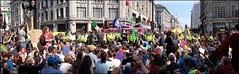 Extinction Rebellion - DSCF0191a (normko) Tags: london west end extinction rebellion climate change crisis ecological emergency protest demo demonstration disruption road block street protester chain lock tube panorama oxford circus tellthetruth boat pink police cordon