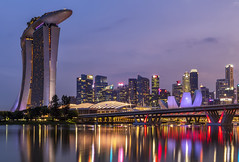 Singapore (Simone Gramegna) Tags: singapore marina marinabay marinabaysands reflections water bay bridge helixbridge building skyscrapers city cityscape cityview città sunset sunrise dusk dawn mall flowerdome dome artsciencemuseum museum science arts art bluehour goldenhour landscape landmark