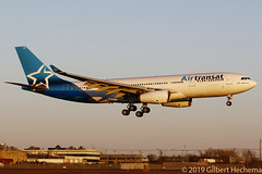 Air Transat .  C-GUBD , CYUL arriving at sunset. (Gilbert Hechema) Tags: airtransatcgubd cyularrivingatsunset air transat airbus a330243