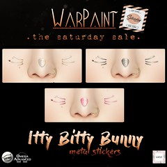 WarPaint @ TheSaturdaySale - Itty Bitty Bunny metal stickers (Mafalda Hienrichs) Tags: warpaint war paint saturday sale promo update release mainstore secondlife itty bitty bunny metal stickers applier makeup catwa genus lelutka omega easter