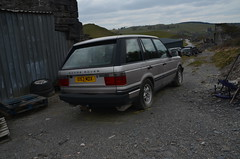 (Sam Tait) Tags: range land rover 4x4 scrap spares repairs yard frongoch lead mine ruin ruins derelict abandoned farm ceredigion wales junk pile old vogue v8 auto automatic 45 silver 218bhp 2000 p38 classic retro industrial industry mining history historic