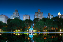 Magic Of Central Park (thedot_ru) Tags: art photography landscape cityscape newyork bigapple newyorkcity ny nyc manhattan island night longexposure dark afterdark travel travelling travels adventure wanderful trip tourism tourist usa america americana upsidedown reflection water noclouds buildings architecture trees green blue canon5d 2014