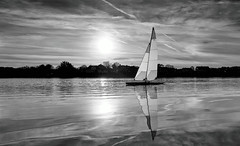 Radio controlled sailboat, Norway (Vest der ute) Tags: xt20 water waterscape landscape lake sailboat sunset sky clouds mono haugesund fav25