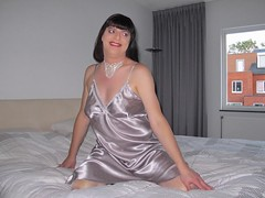Shiny satin nightdress (Paula Satijn) Tags: sexy hot girl babe satin silk shiny nightdress nightie bed gurl tgirl lady play sweet cute soft happy smile joy fun silver chemise slip tranny sensual necklace bedroom