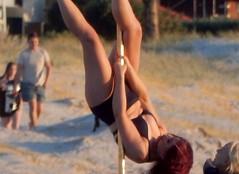 Pole Dancing Position (mikecogh) Tags: grange poledancing beach public display upsidedown practice