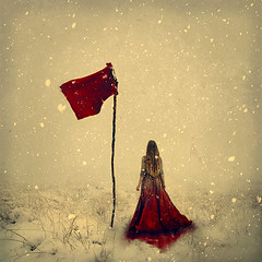fire and blood (brookeshaden) Tags: fineartphotography snow red flag redflag blood conceptualart conceptualphotography fineart selfportrait surrealism surrealphotography