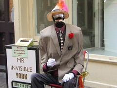Mr Invisible, Hiding In Plain Site (Gary Chatterton 7 million Views) Tags: mrinvisible sunglasses hat mime stonegate york northyorkshire unitedkingdom person man streetperformer entertainers flickr explore canonpowershotsx430 photography