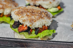 Korean BBQ Rice Burgers (joshbousel) Tags: asian bibblettuce condiment cuisine daejibulgogi eat food gingerscallionsauce gochujang korean koreanbarbecue koreanbbq koreanbbqriceburger lettuce rice riceburger sauce stickyrice vegetable