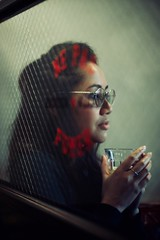 Through the Looking Glass (claudia 222) Tags: women human noctilux leica glass f095 red 50mm portrait candid happyplanet asiafavorites