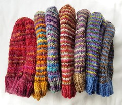 I've knit 7 helix hats from leftover handspun yarn in the last year. Pattern is Stashbusting Helix Hats by Jessica Rose. It's one of my go-to patterns for scraps. #knitting #hats #handspun (chavala) Tags: handspun hats knitting