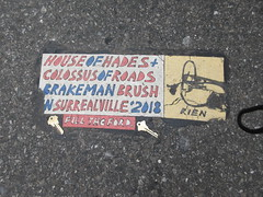 2019 Rien - Cowboy Profile With Keys House of Hades 6524 (Brechtbug) Tags: 2019 rien cowboy profile with keys house hades toynbee tile broken up 54th street 7th ave new york city plus colossus roads brakeman brush in surrealville 2018 fill the ford art artist mosaic parts part shattered smashed jumbled black top asphalt 04202019 nyc cow boy caricature seventh avenue fifty forty