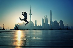 Taking a break from gravity~ Shanghai (~mimo~) Tags: element human cityscape street asia city urban color dance jump acrobat sunrise bund china shanghai