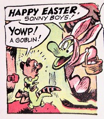 Easter Bunny Albert Alligator and Pogo 6539 (Brechtbug) Tags: easter bunny albert alligator pogo possum by cartoonist walt kelly cartoon vintage 1960s 60s newspaper comic strip comics sunday funnies comicstrip opossum animal humor funny beast fable political satire witty southern okefenokee swamp critters south holiday halloween 1962 screengrab screen grab