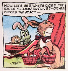 Easter Bunny Albert Alligator and Pogo 6579 (Brechtbug) Tags: easter bunny albert alligator pogo possum by cartoonist walt kelly cartoon vintage 1960s 60s newspaper comic strip comics sunday funnies comicstrip opossum animal humor funny beast fable political satire witty southern okefenokee swamp critters south holiday halloween 1962 screengrab screen grab