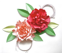 Peony (unikto) Tags: peony paper craft red pink green flower leaf leaves