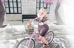 On my way to you (Delisha & Lise Dash BLOGGERS) Tags: blog blond blue carolg catwa girl lady maitreya mesh outdoors pink secondlife snapshot spring bike tulips black opium doux