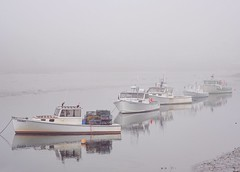 Easter parade (Robert Dennis Photography) Tags: capeporpoise kennebunkport maine lobsterboats fog reflections
