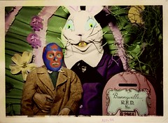 The Source of the Masked Superstar's Easter Anxiety was discovered to be the Likeness of his Head to an Easter Egg....... and the Bunny's sharp yellow teeth. (Studio d'Xavier) Tags: werehere easter easterbunny maskedsuperstar luchalibre luchador anxiety phobia vintage colorized 476482