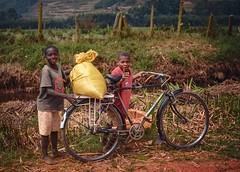 Roadside (Rod Waddington) Tags: africa african afrique afrika uganda ugandan culture cultural child children brothers bicycle bike bag grain boys landscape rural roadside streetphotography street