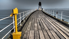West Pier, Whutby. North Yorklshire. (ManOfYorkshire) Tags: west pier whitby north yorkshire northyorkshire lighthouse wooden 1914 planking floor seethrough holidays seaside town telescope yellow ship roro lorry ferry sea harbour walls metal fencing