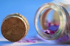 Macro Mondays...Bottle Cap (Sue Armsby) Tags: macro cork bottle bokeh blur dof blue hearts glass stopper pink sunshine light sun macromondays bottlecap