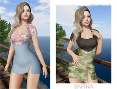 Safira ❥ Misa (Safira | Nia Woods) Tags: cosmopolitan secondlife secondlifestyle safira dress denim floral militar
