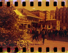Covent Garden (Myahcat) Tags: redscale 35mm film kodakbrownie adapted sprockets spring london analogue coventgarden